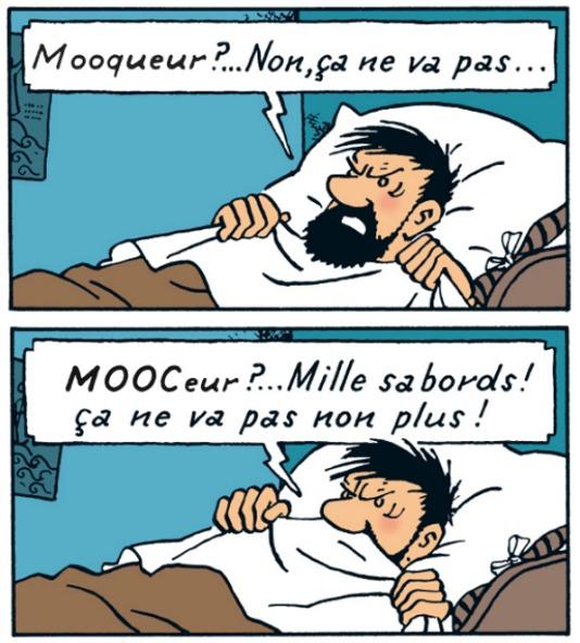 """Le capitaine Haddock aux prises avec l'orthographe de """"Mooqueur"""""""
