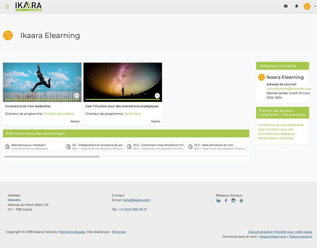 Caputre d'écran plateforme blended learning