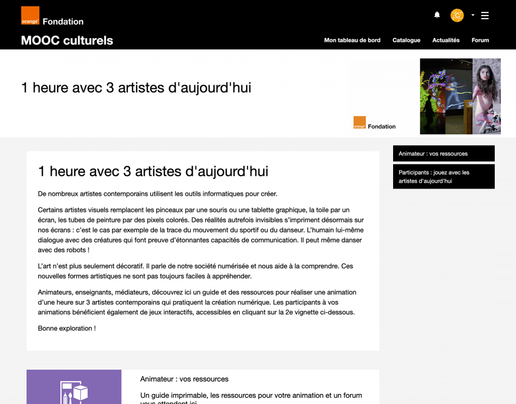 Capture d'écran plateformes MOOC Fondation Orange