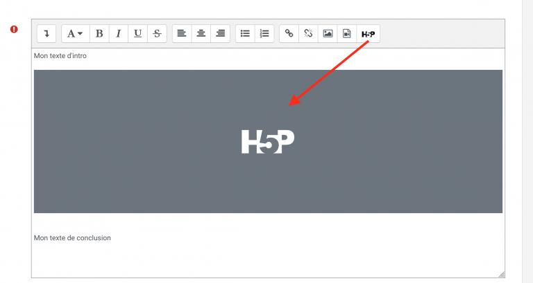 Ajout activité H5P via l'éditeur de texte